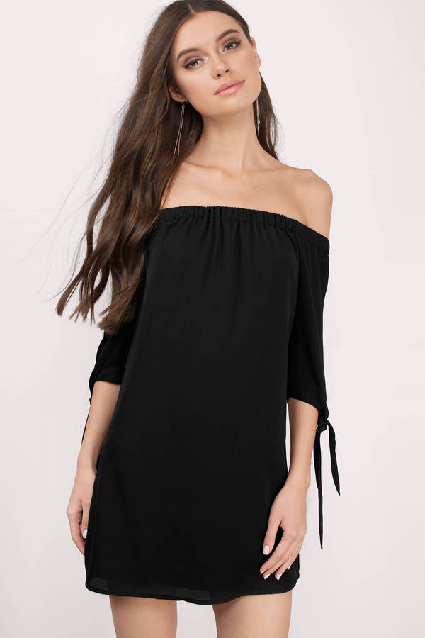 Black Shift Dress Off the Shoulder