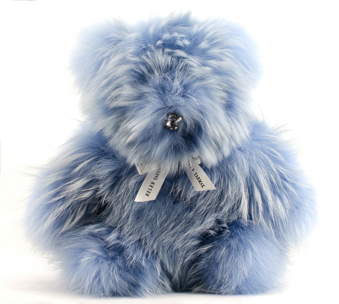 LARGE FUR TEDDY BEAR BLUE FUR