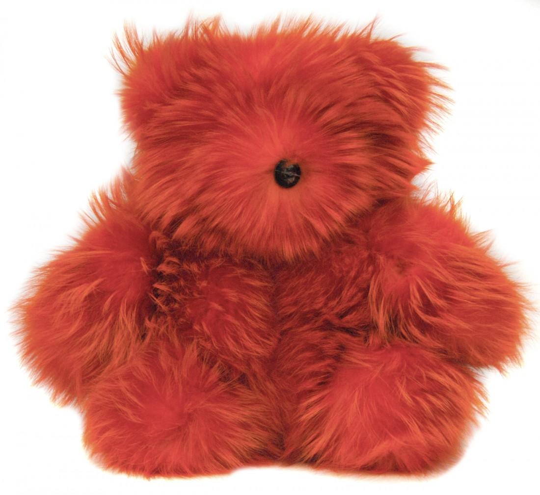 LARGE FUR TEDDY BEAR RED FUR