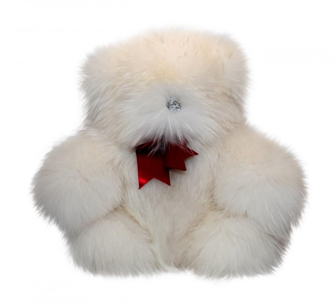 LARGE FUR TEDDY BEAR WHITE FUR