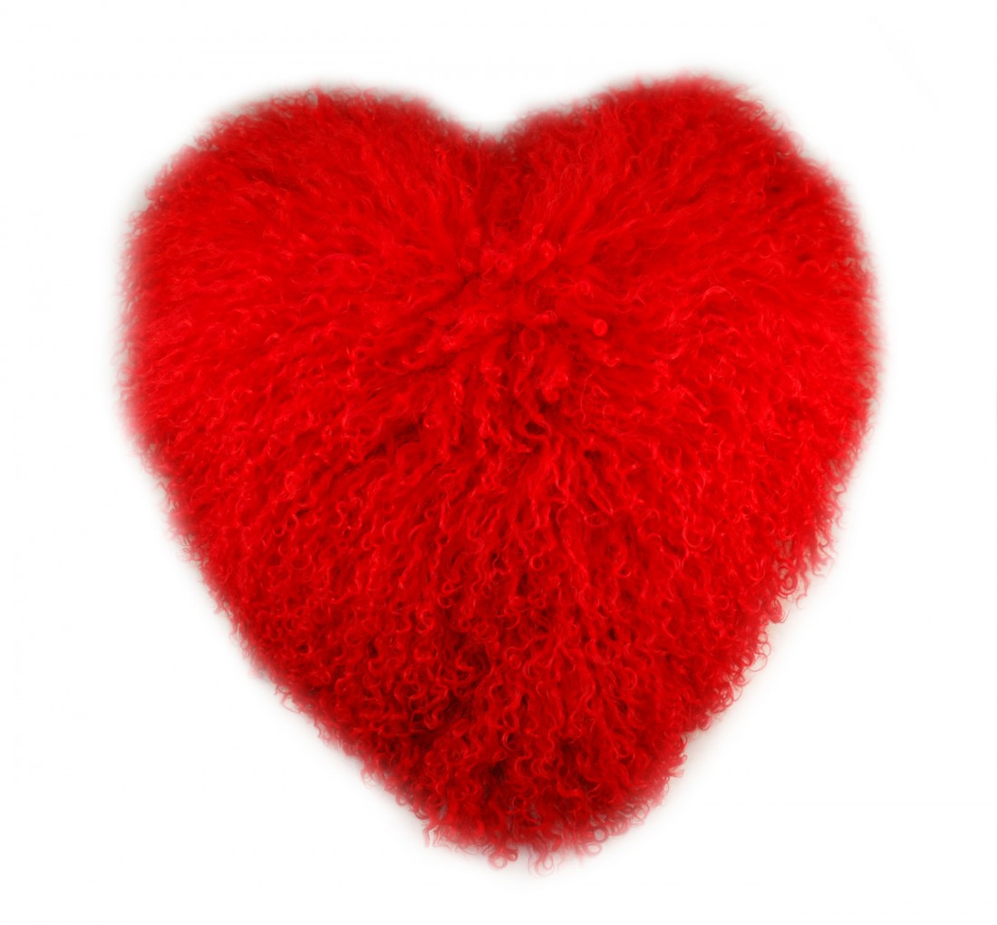 LARGE HEART SHAPED FUR PILLOW RED FUR
