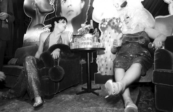 Markus Kellman as Liza Minnelli and Queen Robert as Divine @ RICHARD BERNSTEIN STARMAKER ANDY WARHOLS COVER ARTIST BOOK LAUNCH photo by Cheryl Gorski 45