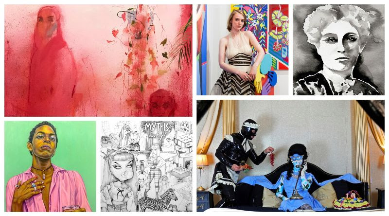 """Images featured in The Untitled Magazine's ART Issue. From top left clockwise: The Whitney Biennial 2019, artist Katya Zvereva at her exhibit Femme Fleur, """"Carrie Lane Chapman Catt"""" by artist Indira Cesarine, """"Working From Bed"""" by Miss Meatface, """"Myths"""" by Jeanette Hayes, and """"Martize"""" by Grace Graupe-Pillard featured in """"IRL: Investigating Reality"""" exhibition."""