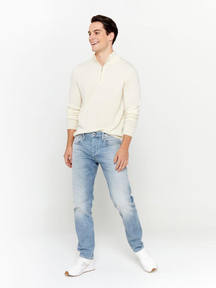State Cashmere Mens Half Zip Mock Neck Cashmere Sweater Ivory 160