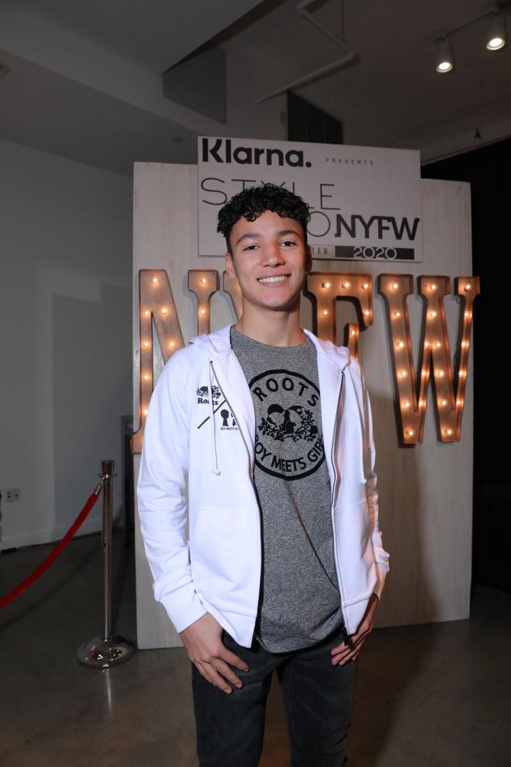 TikTok Star Maximo Rivano at the ROOTS x BOY MEETS GIRL® presentation hosted by Klarna STYLE360 at New York Fashion Week