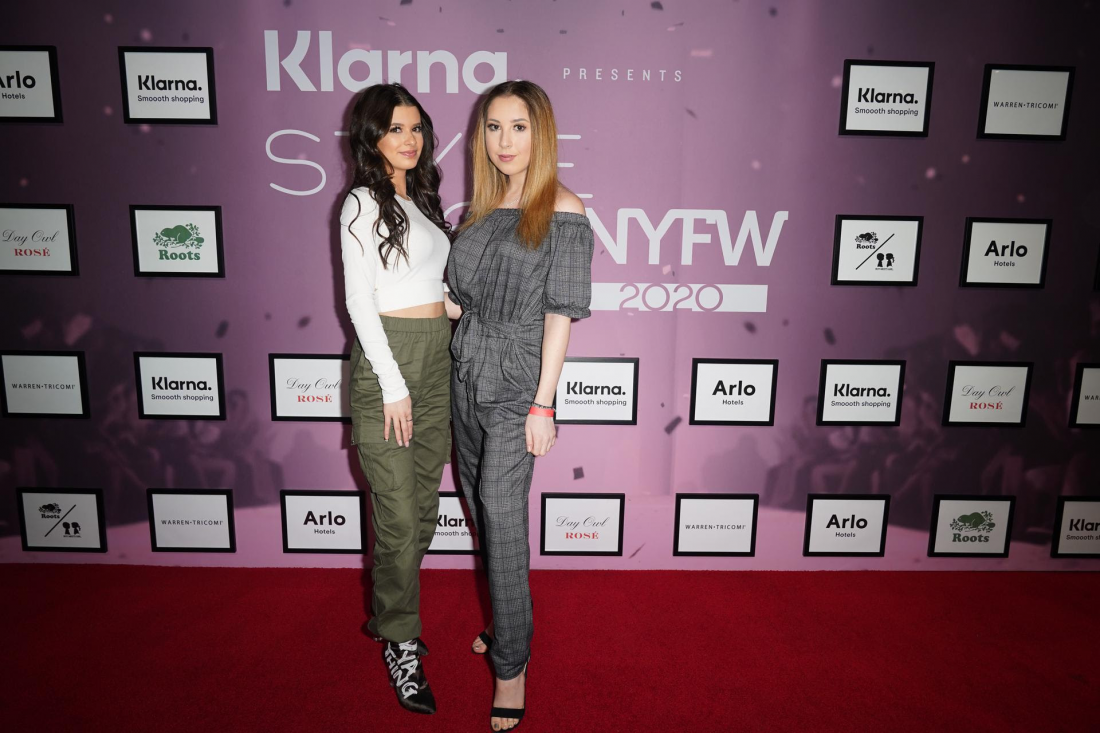 Influencer Gianna Ferazi and Best Selling Teen Author, Carrie Berk at the ROOTS x BOY MEETS GIRL® presentation hosted by Klarna STYLE360 at New York Fashion Week