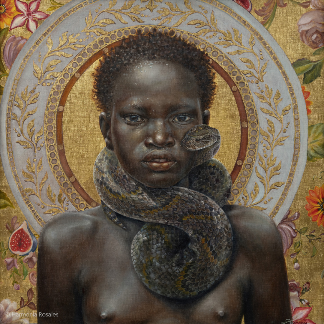 """Summer,"" (2018), oil on linen and gold leaf, 24 x 24 inches. All images © Harmonia Rosales, shared with permission"